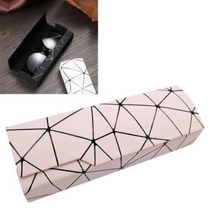Lattice Pattern Portable Glasses Box(Light Pink)