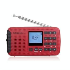 Retekess HR11W FM / AM NOAA Weather Warning Radio, Support  MP3 Player / Hand-crank Flashlight / Solar Power(Red)