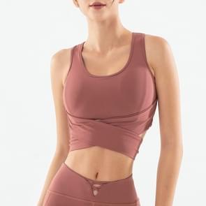 Vrouwen Solid Lace-up Sport T-shirt persoonlijkheid mouwloos sneldrogend vest Running fitness yoga top  maat: S (rood)