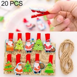 2 Sets Christmas Wooden Clip Photo Clip Cute Cartoon Color Clip Photo Wall Clip with Hemp Rope Santa Claus and Christmas Tree