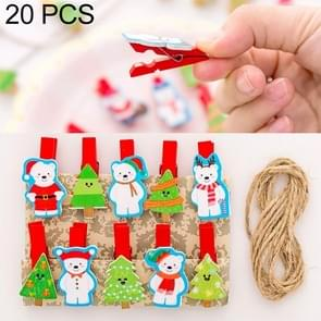 2 Sets Christmas Wooden Clip Photo Clip Cute Cartoon Color Clip Photo Wall Clip with Hemp Rope Christmas Snowman