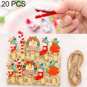 2 Sets Christmas Wooden Clip Photo Clip Cute Cartoon Color Clip Photo Wall Clip with Hemp Rope Christmas Gift