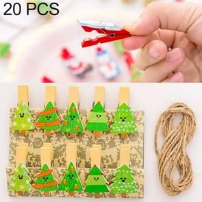 2 Sets Christmas Wooden Clip Photo Clip Cute Cartoon Color Clip Photo Wall Clip with Hemp Rope Christmas Tree