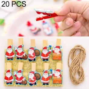 2 Sets Christmas Wooden Clip Photo Clip Cute Cartoon Color Clip Photo Wall Clip with Hemp Rope Santa Claus