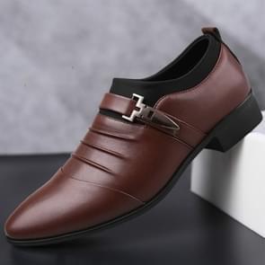 Mannen instellen Business jurk schoenen PU lederen puntige teen Oxford schoenen  grootte: 47 (bruin fluweel voering)