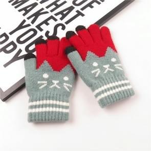 Winter cute cat patroon kinderen gebreide warme handschoenen touch screen handschoenen (PEA Green)