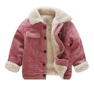 Autumn and Winter Children Single-breasted Corduroy Fleece Jacket, Height:90cm(Pink)