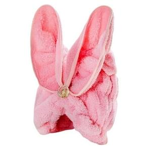 Microfiber Solid Hair Turban Quickly Dry Hair Hat Wrapped Towel(Light pink)