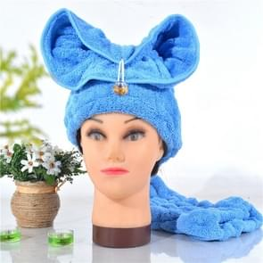 Microfiber Solid Hair Turban Quickly Dry Hair Hat Wrapped Towel(Blue)