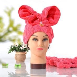 Microfiber Solid Hair tulband snel droog haar hoed verpakt handdoek (roze)