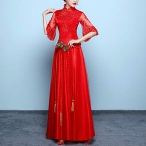 Chinese Dress Female Show Wo Clothing Wedding Dress Dragon And Phoenix Cheongsam, Size:L(Red)