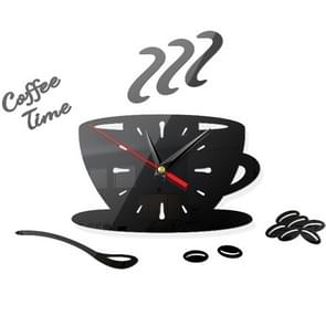 2 Sets Home DIY 3D Stereo Decorative Fashion Coffee Wall Clock Acrylic Mirror Wall Sticker Coffee Clock(Black)