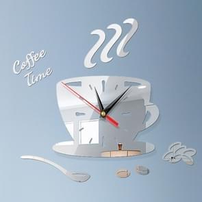 2 Sets Home DIY 3D Stereo Stereo Decoratieve Fashion Coffee Wall Clock Acryl Spiegel Muur Sticker Koffieklok (Zilver)