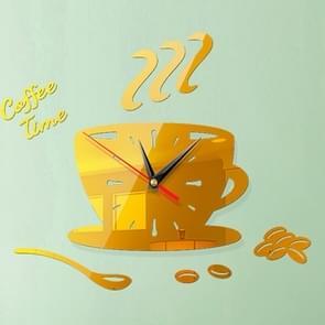 2 Sets Home DIY 3D Stereo Stereo Decoratieve Fashion Coffee Wall Clock Acryl Spiegel Muur Sticker Koffieklok (Diep goud)