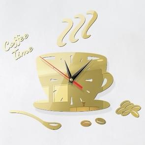 2 Sets Home DIY 3D Stereo Stereo Decoratieve Fashion Coffee Wall Clock Acryl Spiegel Muur Sticker Koffieklok (Licht Goud)
