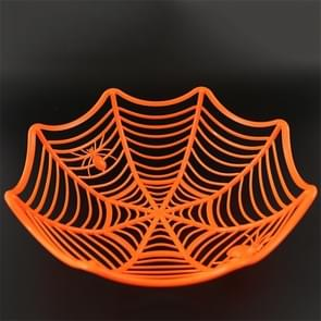 2 PCS Halloween Spider Web Candy Basket Candy Bowl Plastic Candy Box Halloween Decoration PartySupplies(Orange)
