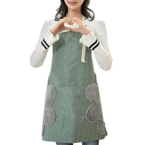 Oilproof Waterproof Padded Apron Cooking Gown with Hand Rub Kitchen Utensils(Green)