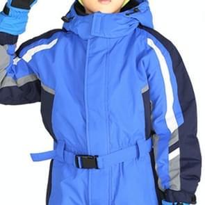 Winter Children Thick Warm Waterproof Wear-resistant Jumpsuit Ski Clothes, Size:146cm(Blue)