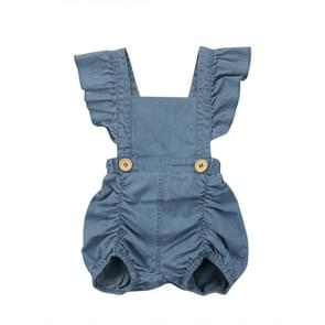 Summer Baby Girls Ruffles Denim Romper, Kid Size: 100CM(Blue)