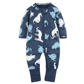 Babies Print Pattern Zipper Jumpsuit Romper, Kid Size:66cm(HY2391B Navy Blue Dinosaur)