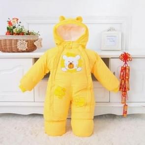 Winter Babies Cartoon Lion Pattern Jumpsuits Children Romper, Size:XL(Yellow)