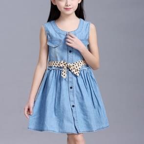 Summer Girl Sleeveless Denim Skirt Dress, Size:140cm(Beige Dot Belt)