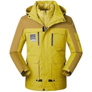 Mannen/vrouwen warm ademend winddicht waterdichte Hiking ski pak outdoor jas  maat: M (kurkuma)