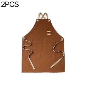 2 PCS Barista Hairdresser Apron Florist Restaurant Bar Work Clothes One Size(Brown)