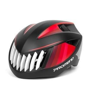 PROMEND Shark Bicycle Cycling Helmet EPS+PC Ultralight Integrally Breathable Bike Mountain Road Helmet(Black Red)