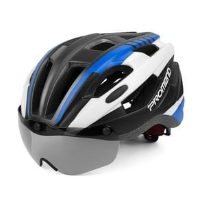 PROMEND Bicycle Goggles Magnetic Glasses Safety Helmet(Blue+Black)