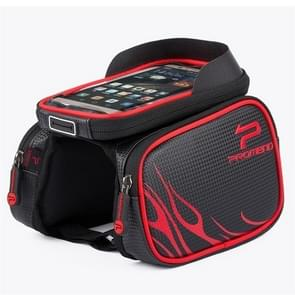 PROMEND 6.2 Inch Bicycle Front Beam Saddle Bag Rainwater Touch Screen Upper Tube Mobile Phone Bag 6.2 inch(Red)