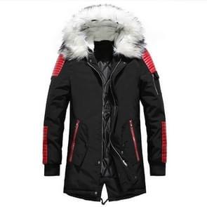 Winter mannen verdikken warme Parkas casual lange uitloper Hooded kraag jassen jassen  maat: M (zwart rood)