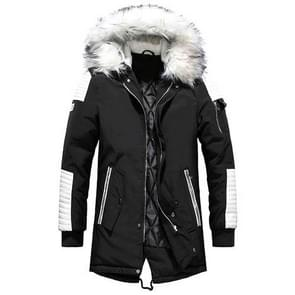Winter mannen verdikken warme Parkas casual lange uitloper Hooded kraag jassen jassen  maat: XXL (zwart wit)