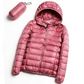 Casual ultra licht witte eend naar beneden jas vrouwen herfst winter warme jas Hooded parka  maat: XL (roze)
