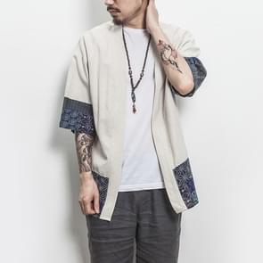 Retro Hanfu zeven kwart mouw katoen linnen effen stiksels jeugd mannen vest jas  maat: M (wit)