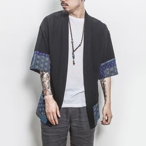 Retro Hanfu zeven kwart mouw katoen linnen effen stiksels jeugd mannen vest jas  maat: L (zwart)