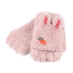 Children Half Finger Gloves Knitted Cold Warm Plus Velvet Fingerless Gloves(Light Pink )