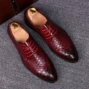 Mannen Business jurk schoenen krokodil lederen schoenen puntige strips Brock casual schoenen  grootte: 47 (rood)