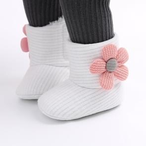 Baby Warm Fleece Knit  Booties Crib Shoes, Size:12(White)