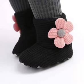 Baby Warm Fleece Knit  Booties Crib Shoes, Size:13(Black)