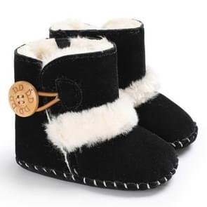 Baby Winter Warm Woolly Snow Boots With Buckle Strap, Size:11cm(Black)