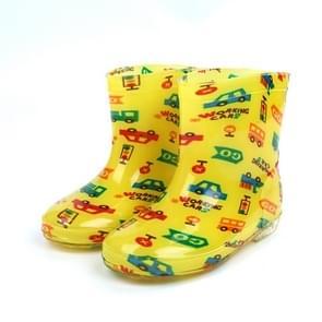 Children Shoes PVC Rubber Kids Baby Cartoon Rain Boots Waterproof Water Shoes, Size:25(Yellow  Car)