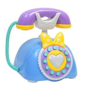 Kind Simulatie Retro Telefoon Licht Muziek Cartoon Vroeg onderwijs Puzzel Musical Toys (Blauw)