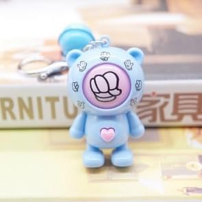 Creative Cartoon Bear Guessing Keychain Pendant Stone Scissors Cloth Bag Key Chain Car Pendant Small Gifts(Blue Bear + Blue Bell)