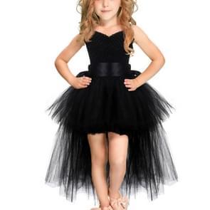 Black Girls Lace Sling Dress Mesh Tutu Party Dress, KId Size:34 age(90-110cm)
