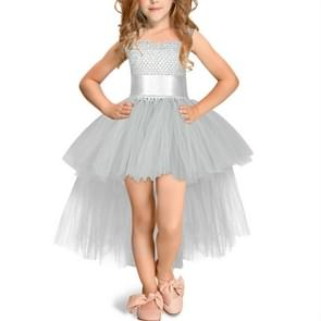 Gray Girls Lace Sling Dress Mesh Tutu Party Dress, KId Size:7-9 age(120-140cm)