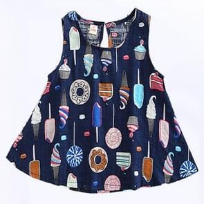 Baby Girls Fashion Donut Print Sleeveless Dress, Kid Size: 110 Yards(Royal Blue)
