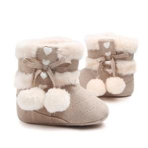 Fleece Winter Baby Shoes Infant Snow Boots Rubber Soft Sole, Size:11.5cm(Apricot)
