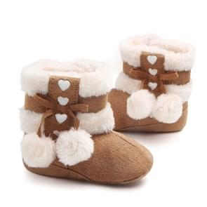 Fleece Winter Baby Shoes Infant Snow Boots Rubber Soft Sole, Size:12.5cm(Coffee)