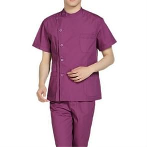 Standing Collar Male Nurse Suit Short Sleeve Summer Suit Operating Room Protective Clothing, Size:XXXL(Purple)